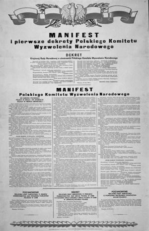 Manifest PKWN/reprodukcja zasobów zbiorów Biblioteki Narodowej /reprodukcja: Mirosław Stankiewicz /Agencja FORUM