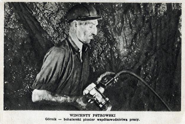 Przodownik pracy górnik Wincenty Pstrowski, 1947 /Reprodukcja: FoKa /Agencja FORUM