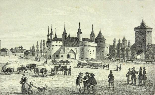 Barbakan i Brama Floriańska na litografii z połowy XIX wieku. /Muzeum Literatury /East News/