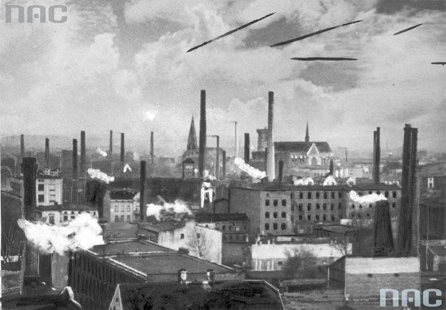Panorama Łodzi z początku XX wieku /Z archiwum Narodowego Archiwum Cyfrowego/