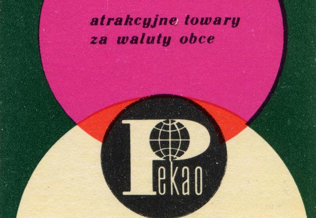 Fragment pudełka zapałek z reklamą Pekao /reprodukcja Piotr Mecik /Agencja FORUM/