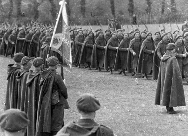 Uroczystość wręczenia sztandaru Samodzielnej Brygadzie Strzelców Podhalańskich. Defilada /Z archiwum Narodowego Archiwum Cyfrowego/