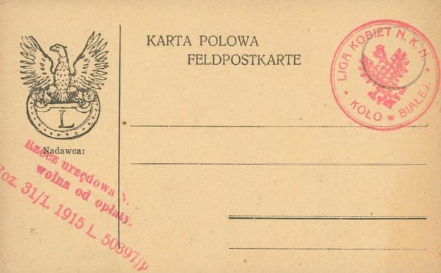 Karta polowa Legionów Polskich /Polona /Wikimedia/
