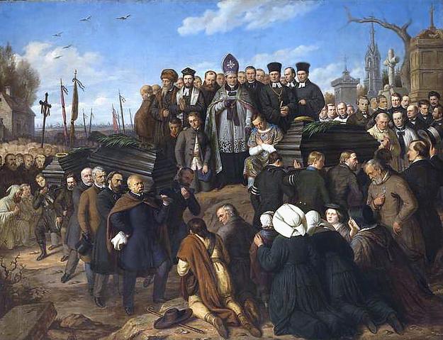 Pogrzeb pięciu poległych - obraz Aleksandra Lessera /Wikimedia/
